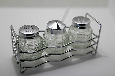 3 pc Glass Cruet Set Salt Pepper Mustard Pot In Metal Stand