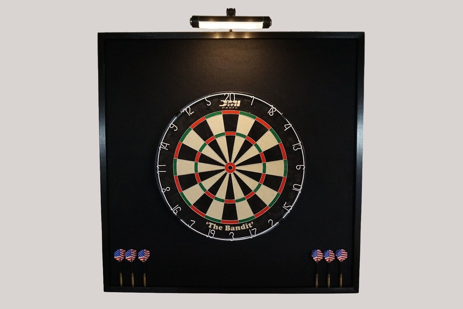 all black led lighted dartboard backboard wall