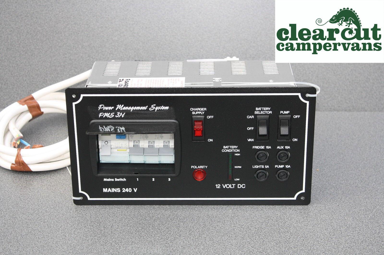 Pms3 Campervan Motorhome Power Management240v Electric Hook Up Wiring Diagram Rcd 240v For A Caravan Pms3h Management System Battery Charger