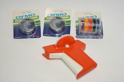 Vintage Orange Dymo Home Embossing Label Maker Caps Wheel With 38 Labels