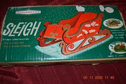 Vintage Christmas, folding wood sleigh, painted In original Woolworth
