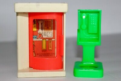 VINTAGE Fisher Price Little People Telephone Booth Set of Two Phone Lot 50