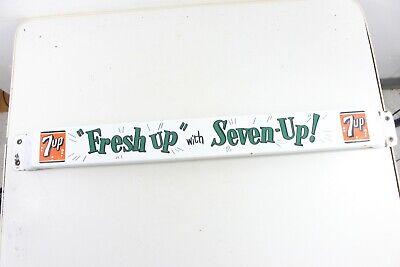 """Vintage 1954 Original Porcelain Seven 7 Up """"Fresh Up"""" Door Push Advertising Sign"""