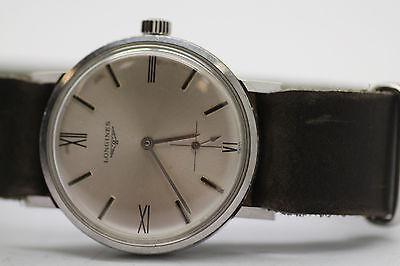 Vintage Longines 8048.1 Cal 302 17j Mens Watch Screw Back Case Leather Strap