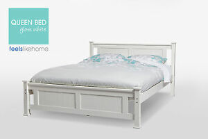 Batna Brand New Timber Queen Size Bed Frame - WHITE