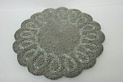 """Kim Seybert Living Silver Beaded Placemat or Holiday Centerpiece 13"""" in diameter"""