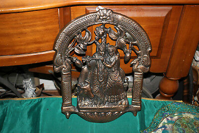 Vintage India Religious Spiritual Hinduism Wedding Ceremony Wall Plaque-Metal