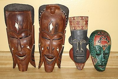 Lombok indonesian +African Wood Mask Lot Wooden Tribal Hand Carved Wall Hanging
