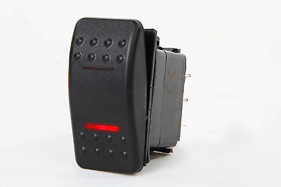 Red Rocker Switch - MARINE BOAT RV ROCKER SWITCH ON-OFF-ON DPDT 7 PIN 2 RED LED TRAILER MOTORCYCLE