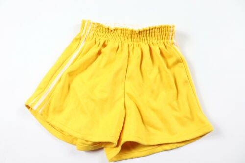 Vintage 70s New Pele Youth Large Striped 50/50 Gym Soccer Shorts Yellow White