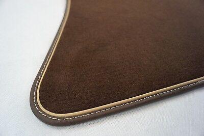 Fußmatten braun passend für Mercedes Benz R129 SL + ECHTLEDERRAND braun beige