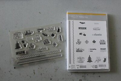Stampin Up HOLIDAY CHEER Project Life Christmas Halloween Photopolymer NEW Retir (Halloween Project Life)