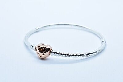 AUTHENTIC PANDORA MOMENTS BRACELET ROSE HEART CLASP #580719 SNAKE