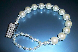 White Ivory Diamonds & Pearls Crystal Bling Baby Romany dummy pacifier clip