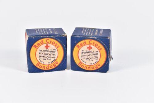 "Lot 2 Vintage Red Cross Bandage 1"" 10 Yards Johnson & Johnson Sealed New In Box"
