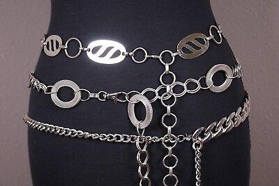Lot 3 Vtg Mod Links Mesh Silver Tone Rings Belts Fashion Runway 70s 80s 90s Mod