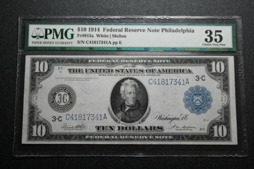1914 Philadelphia $10 Federal Reserve Note Fr. 915a PMG 35 (84096)