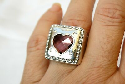 NEW BRIGHTON OPEN HEARTED RING PURPLE CRYSTAL STATELY SIZE 9 FREE SHIP