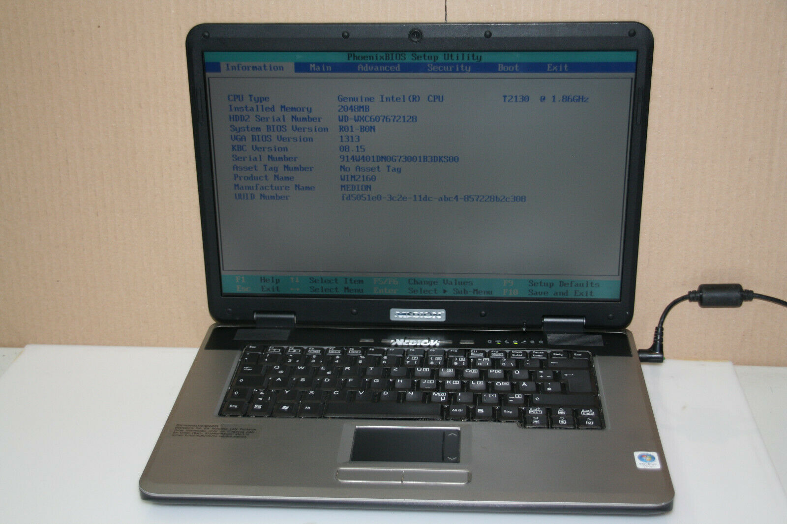 Medion MD96290 WIM2160 2GB RAM,160GB HDD Notebook