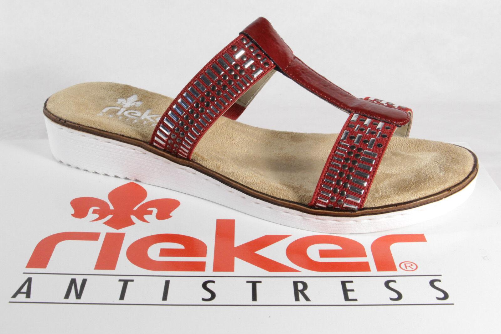 Rieker donna pantofole sandali rosso/Silver NUOVO
