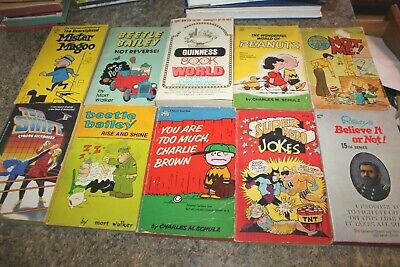 Lot of 10 Vintage Paperbacks Family Circus Peanuts Beetle Bailey Tom Swift Family Circus Books