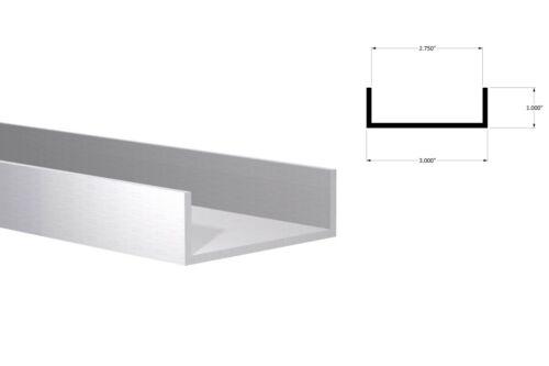 """Aluminum Channel:(3"""" W x 1"""" H x 1/8"""" Wall) Fits 2-3/4"""" Mill Finish 4 Foot"""