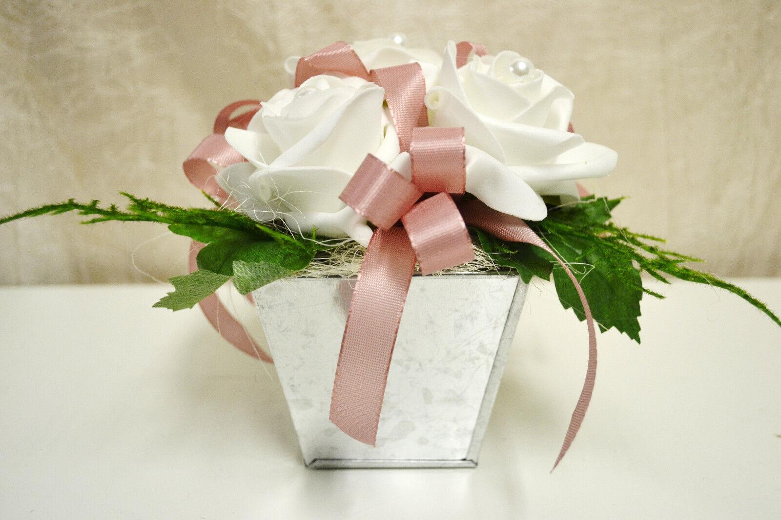 tischdeko wei rosa kunstblumen blumen gesteck hochzeit taufe kommunion eur 6 90 picclick de. Black Bedroom Furniture Sets. Home Design Ideas