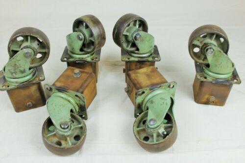 Rare Set of 6 Large Vintage Industrial Cast Iron Swivel Castors - Original Green