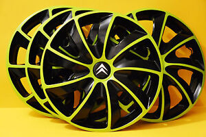 15 citroen c2 c3 c4 c5 picasso etc wheel trims covers hub caps green black ebay. Black Bedroom Furniture Sets. Home Design Ideas