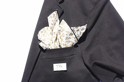 Men's Leopard Animal Print Pocket Square with Black Trim