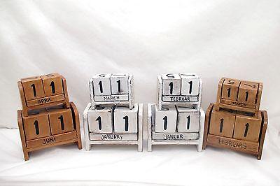 Chic Shabby Stil Weiß Holz (Kalender Landhaus shabby chic Dauerkalender Holz Deko Landhausstil weiß vintage)