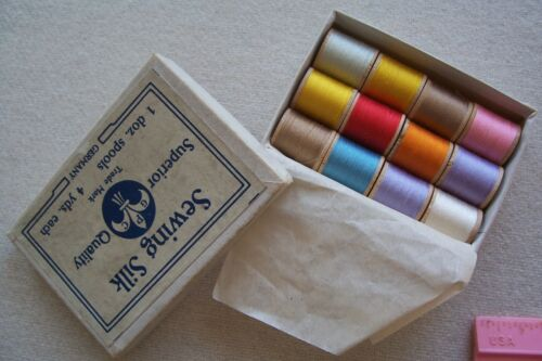 Vtg Antique Box 12 Wooden Spools Sewing Silk Thread Original Box Made Germany