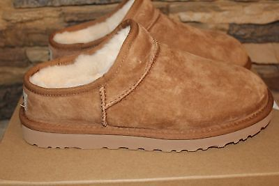 (NIB UGG CLASSIC Water Resistant Suede Shearling Slippers US 5 7 9 10 COGNAC)