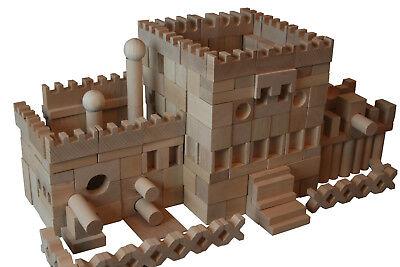 220 Stück XXL Holzbausteine aus Buchenholz Bauklötze Holzklötze Holzspielzeug.