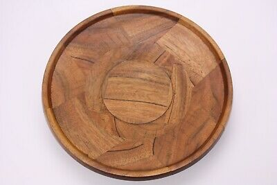 Hand Made Pieced Turned Vtg MCM Studio Art Wood Tray Bowl Snack Appetizer Fruit