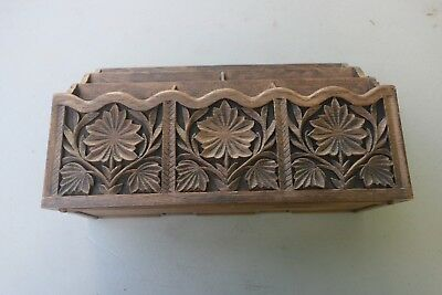Vintage Lerner Desk Organizer Office Mail File Holder Faux Carved Wood