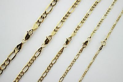Authentic 10K Yellow Gold Hollow Figaro Chain Necklace 1.9mm-7.5mm/16