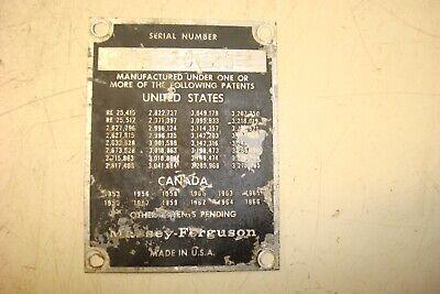 1969 Massey Ferguson 1130 Tractor Serial Number Plate