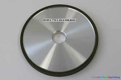 Diamantschleifscheibe D125 x T10 x X4 x H22,2 Schleifscheibe Form 1A1 Neu 1St.