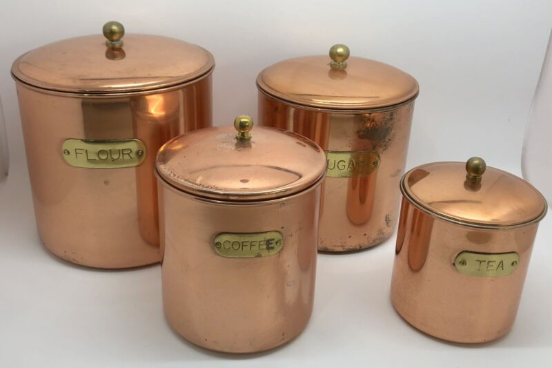 Copper Canisters Set of 4 w/ Brass Label Plates & Knobs; Kitchen (RF959)