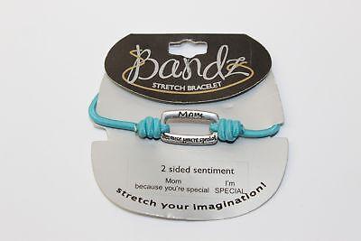 Bandz Stretch Bracelet (Bandz Stretch Bracelet 2 Sided Sentiment Blue for Mom)