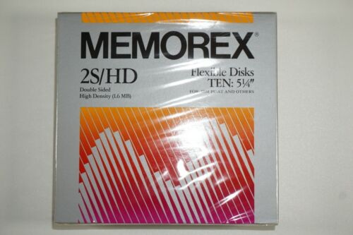 """Sealed 10-Pack Memorex 2S/HD 5.25"""" Flexible Computer Disks Double Sided 1.6MB"""