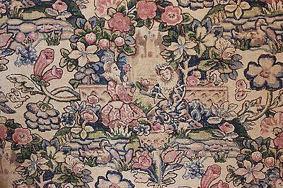 Vintage c1918 Arts & Crafts Medieval Court & Garden HandBlocked Curtain Panel