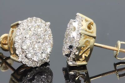 14K Yellow Gold Stud Earrings With Screw Back 1.20 Carat Round Cut VVS1 Diamond