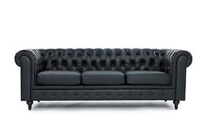 Chesterfield Modern Tufted Button Black Bonded Leather Sofa