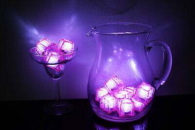 Led Icecubes (Set of 12 Litecubes Brand Jewel Color Tinted Rose Pink Light up LED Ice)