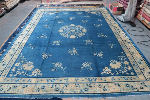 Antique Art Deco Blue Peking Chinese Pekin Rug Hand Knotted Wool 9