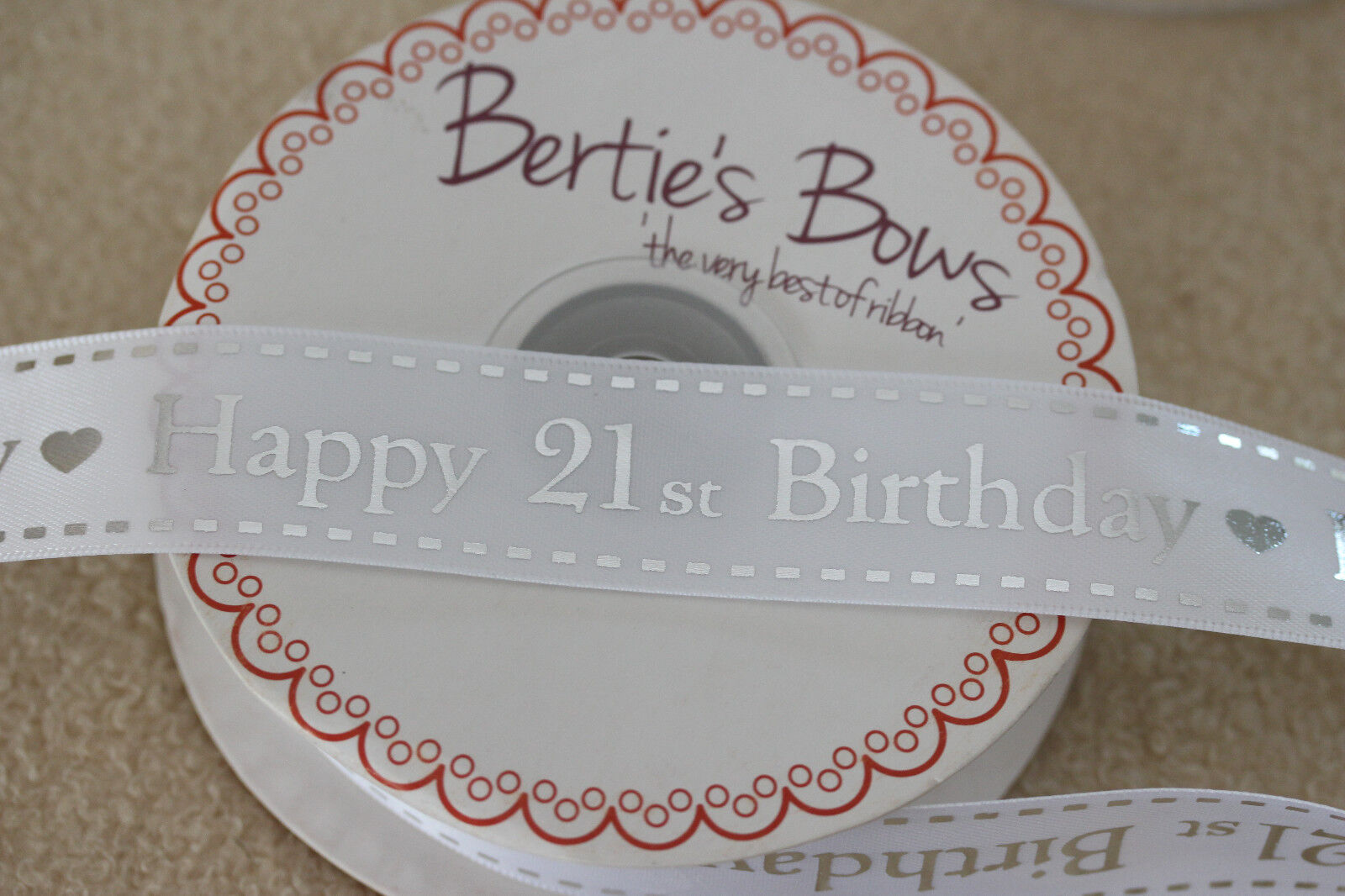 Details about Beautiful Quality BERTIES BOWS 25mm White & Silver HAPPY 21st  BIRTHDAY Ribbon