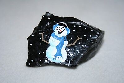Vintage Hand Painted Snowman on Piece of Coal Folk Art Christmas Rock Signed EVC