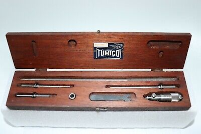 Tumico Feather Touch Tubular Micrometer Set I-26 With Wood Case U.s.a.